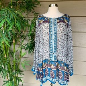 Lucky Brand Colorful Floral Design Long Sleeve Top